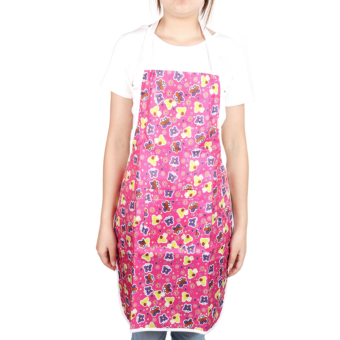 Household Flower Butterfly Pattern Water Resistant Front Patch Pocket Apron
