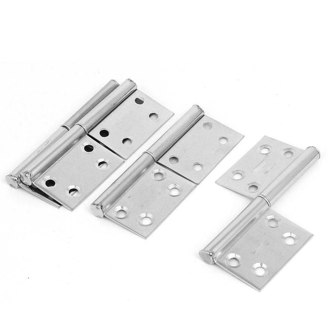 Cabinet Stainless Steel Screw Fixed Folding Flag Hinges 98mmx39mm 4pcs