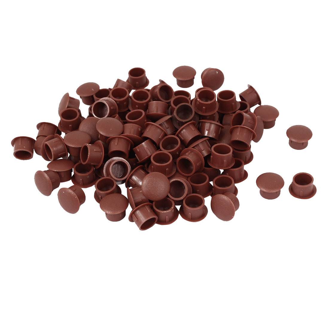 10mm Diameter Hole Brown Plastic Push in Furniture Screw Cap Covers 100 Pcs