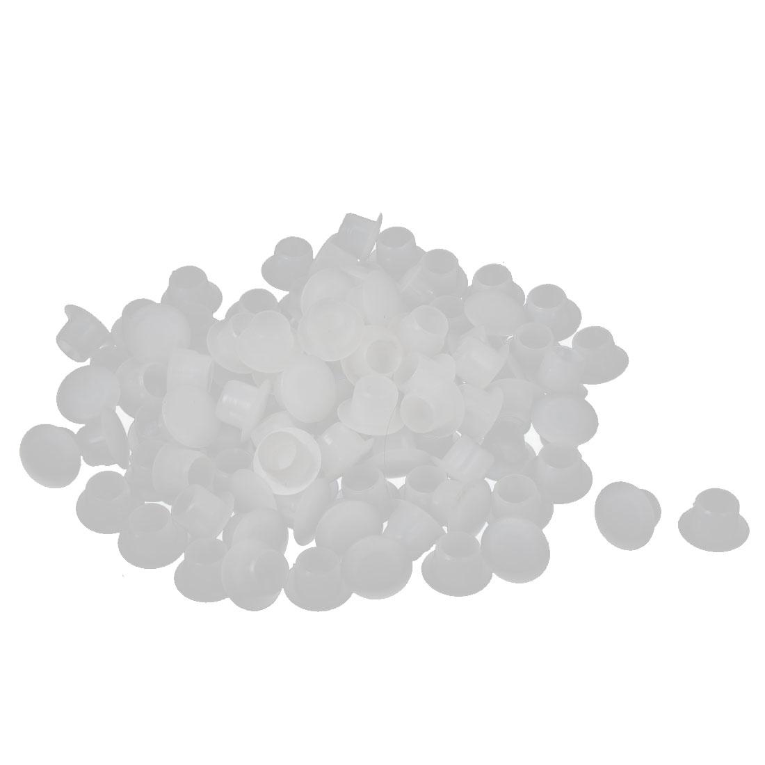 8mm Diameter Hole Plastic Round Shaped Furniture Screw Cap Covers White 100 Pcs