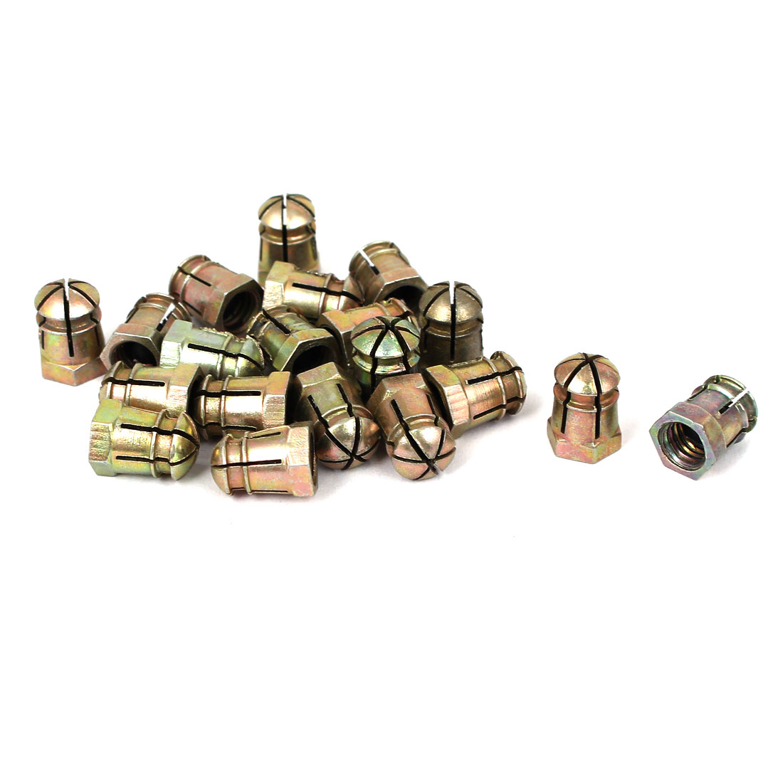 M6 Female Thread Screwed Connection Alloy Expanding Nuts Bronze Tone 20 Pcs