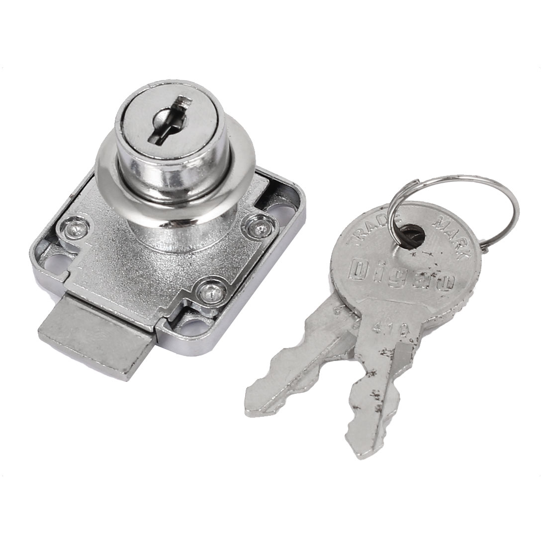 16mm x 20mm Cylindrical Head Cabinet Zinc Alloy Drawer Lock Silver Tone w 2 Keys