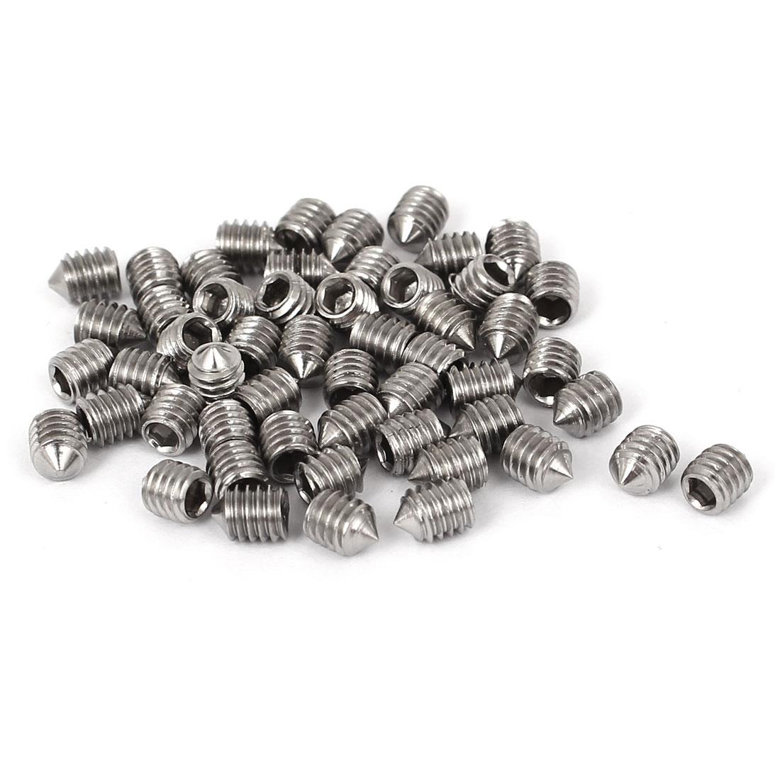 4mm x 5mm Thread 304 Stainless Steel Hex Socket Cone Point Grub Screws 50 Pcs