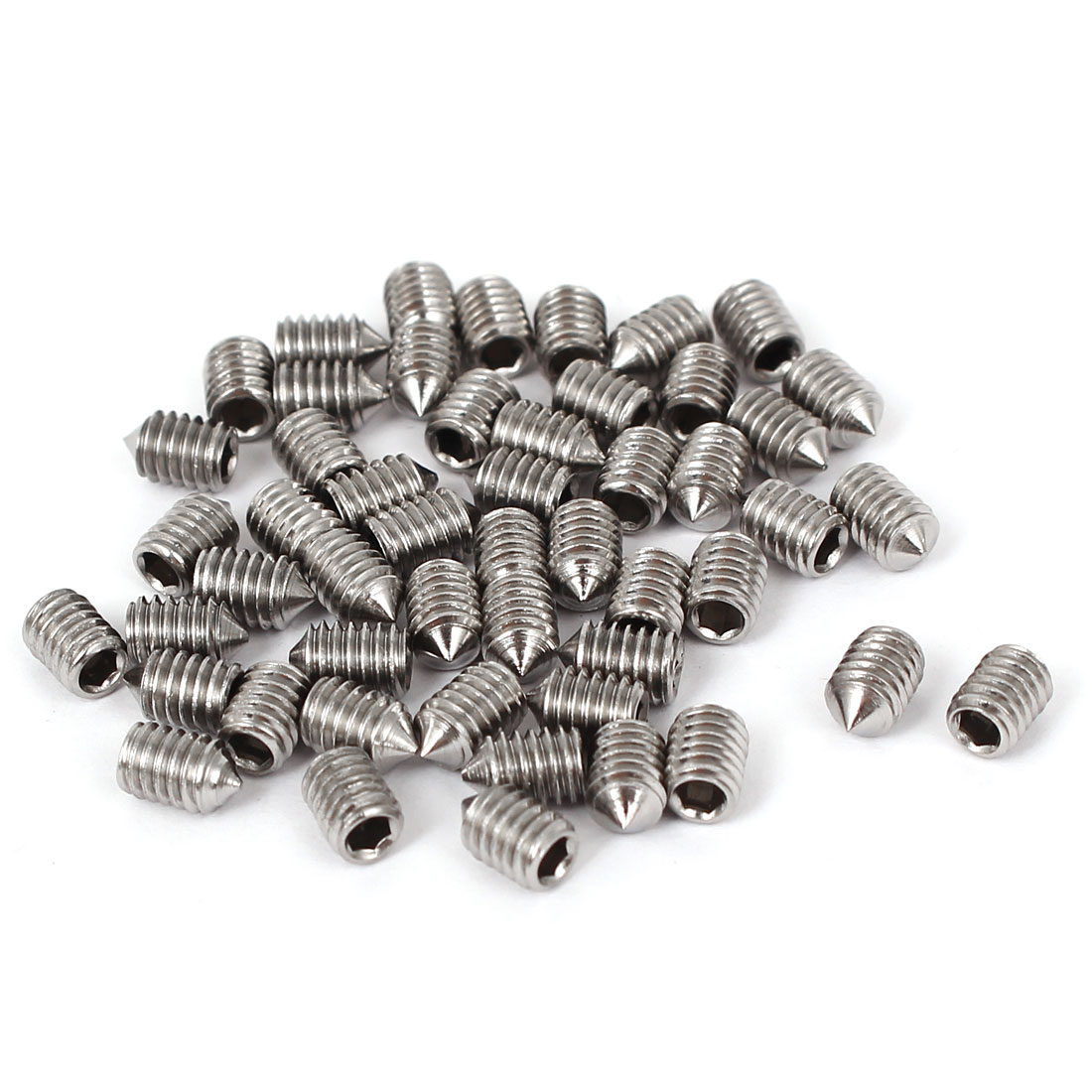 4mm x 6mm Thread Hexagon Socket Cone Point Grub Screws Silver Tone 50 Pcs