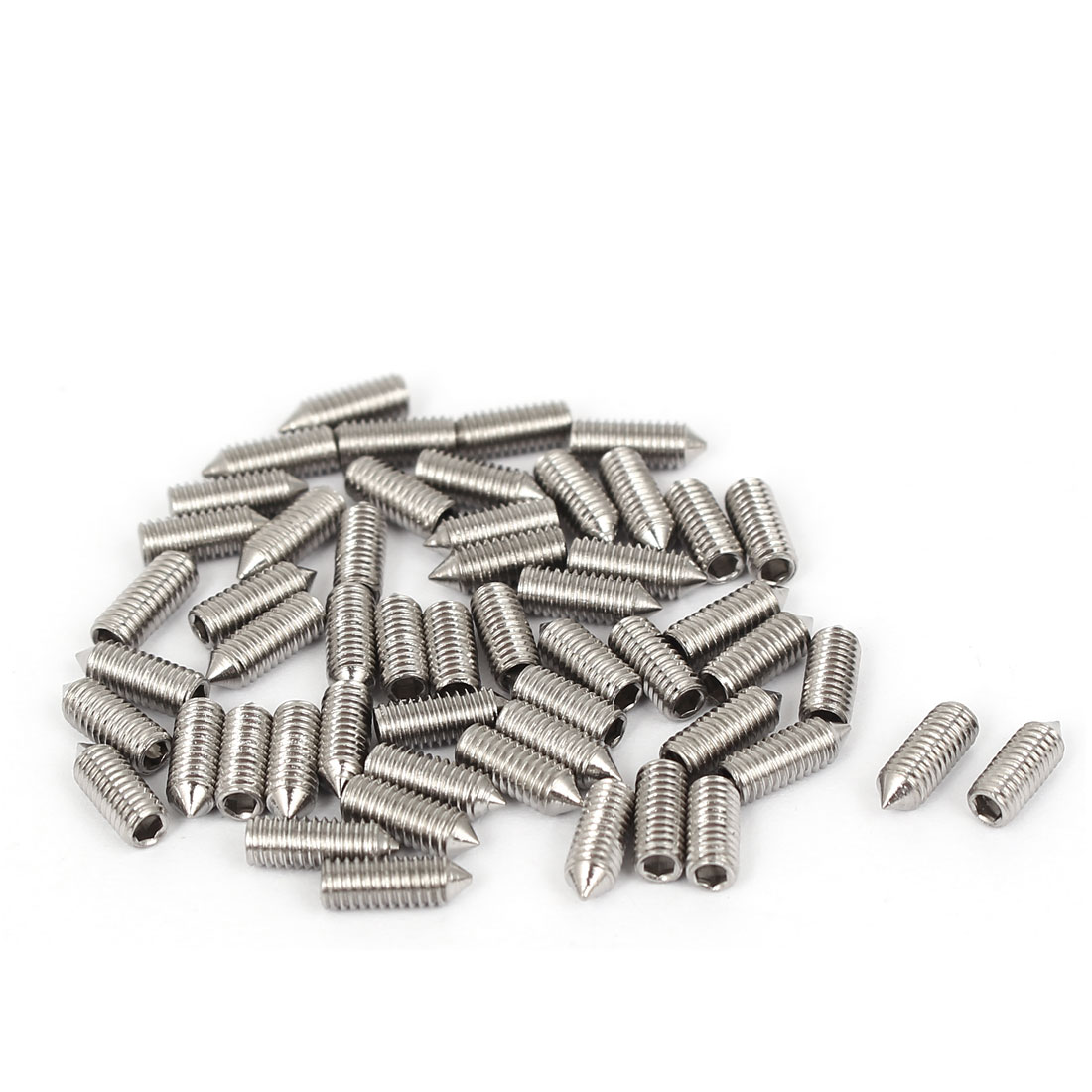 3mm x 8mm Thread 304 Stainless Steel Cone Point Hex Socket Set Grub Screw 50 Pcs