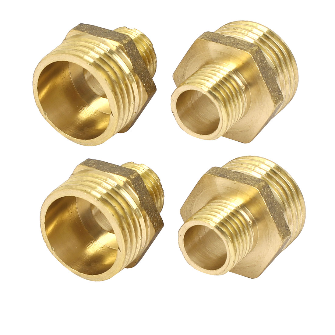 1/2BSP to 1/4BSP Male Thread Brass Hex Nipple Pipe Fittings Gold Tone 4 Pcs