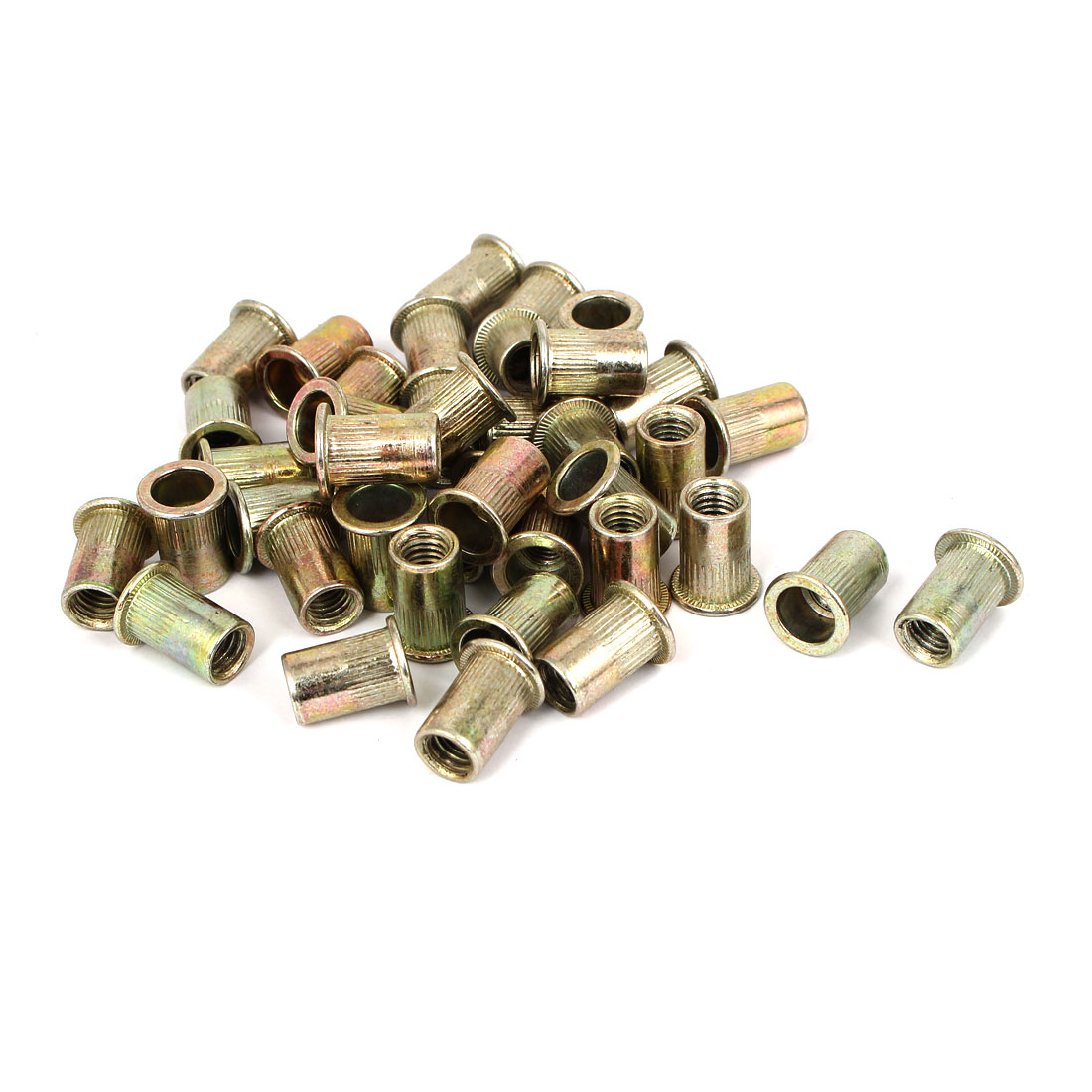 M8 x 18mm Thread Metal Flat Head Rivet Nut Insert Nutserts Bronze Tone 40 Pcs