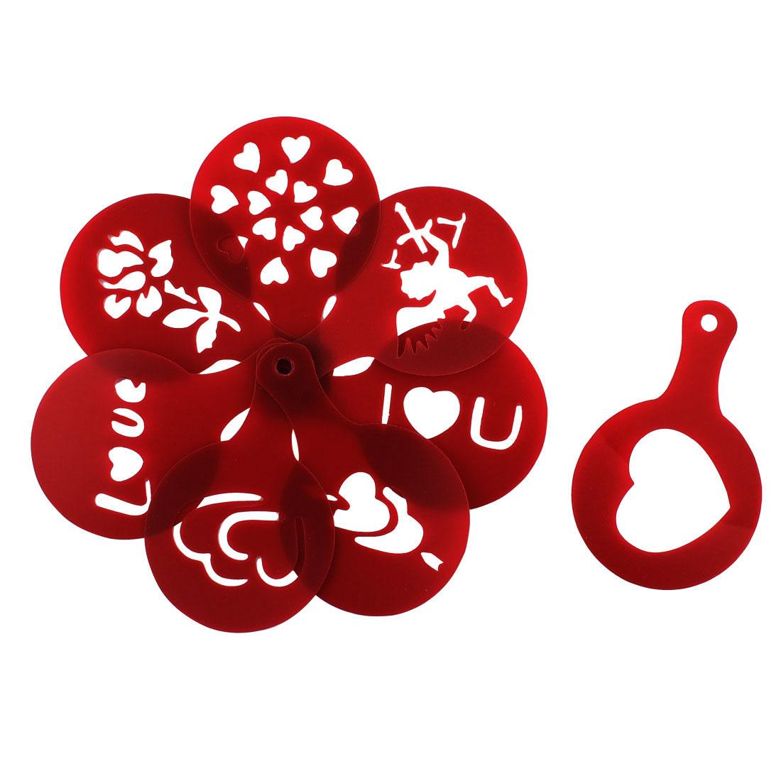 Kitchen Plastic Coffee Art Printing DIY Mold Valentine Gift Dark Red 8 in 1