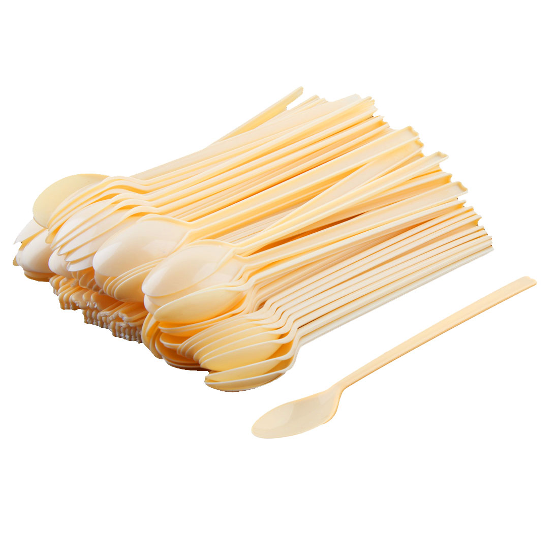 Home Plastic Long-handled Disposable Jelly Dessert Pudding Spoons 100pcs
