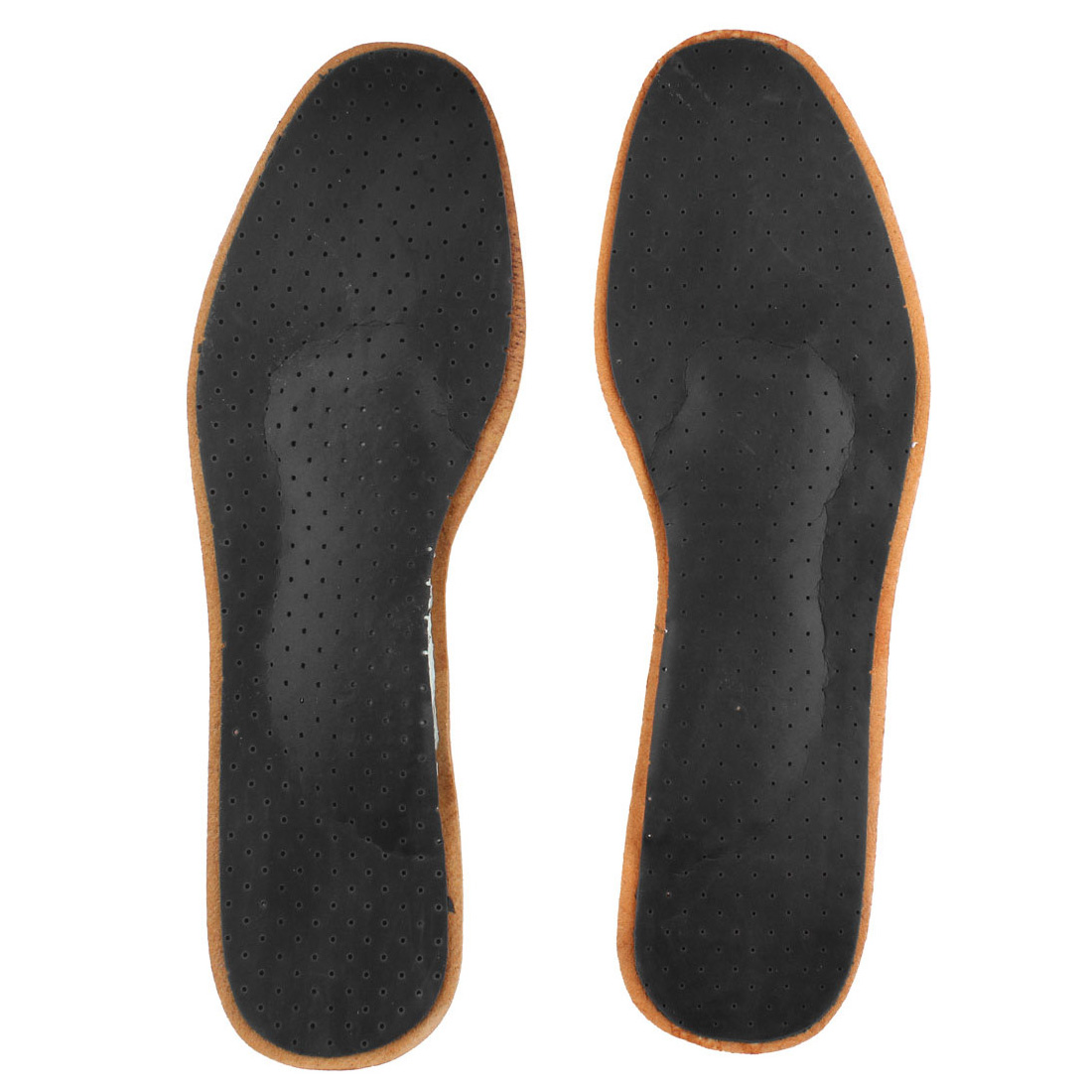 Men Faux Leather Absorbent Full Cushions Breathable Orthotics Shoe Insoles Pair