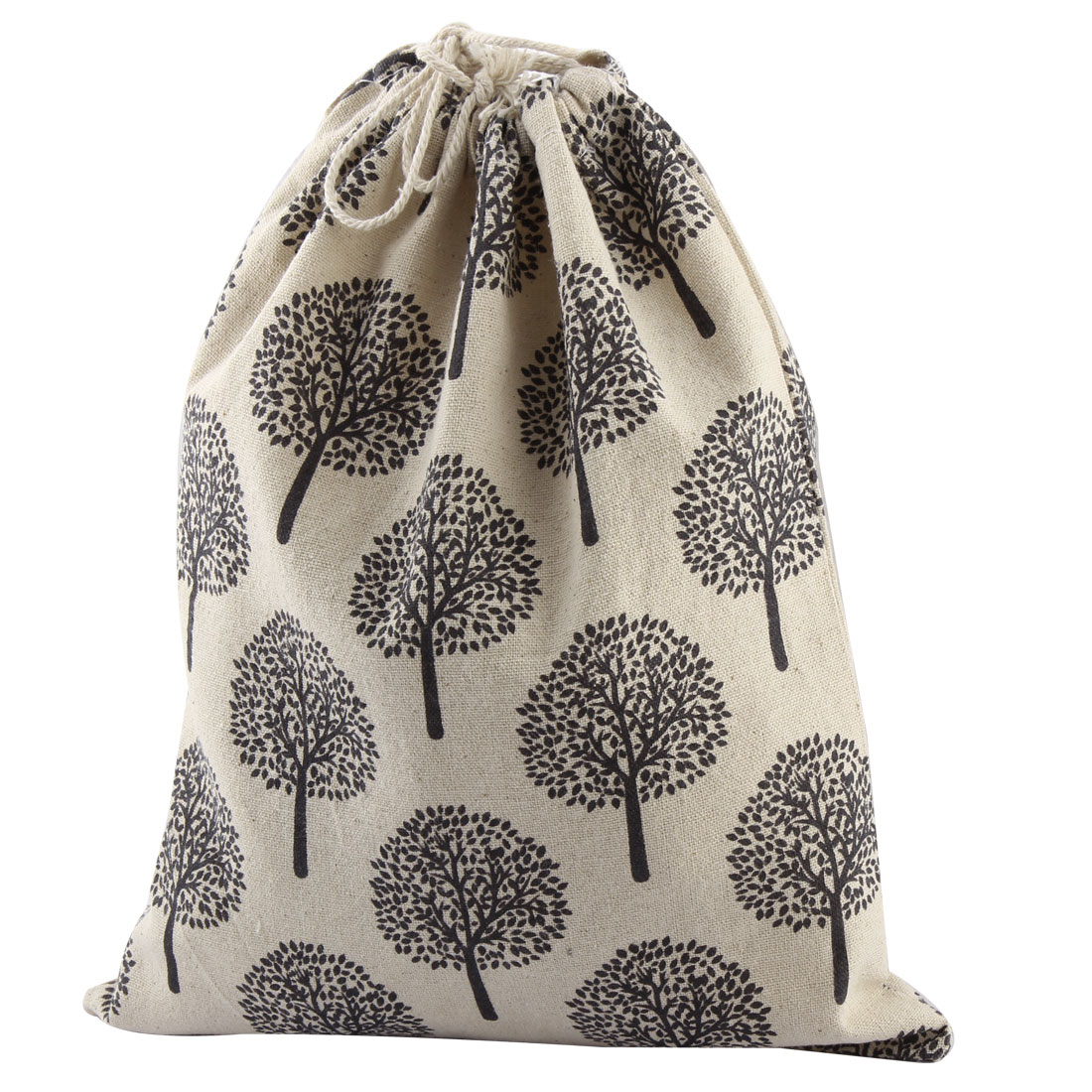 Household Cotton Cloth Tree Pattern Storage Bag Drawstring Pouch Beige Black