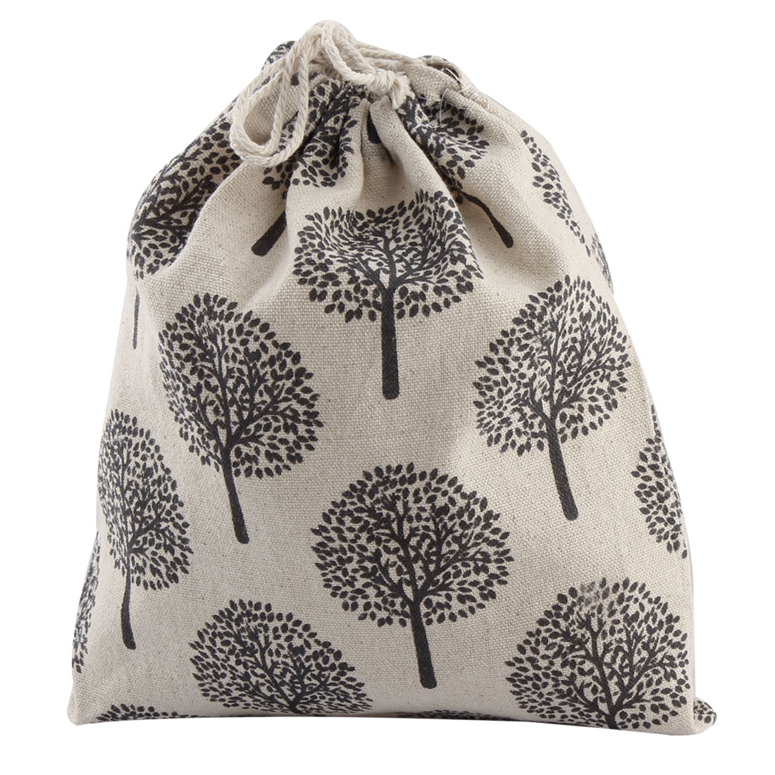 Household Cotton Blend Tree Pattern Clothes Socks Drawstring Pouch Beige Black