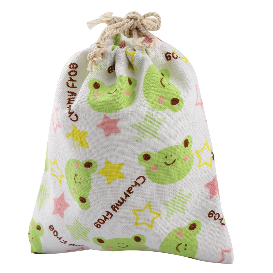 Household Cotton Blend Bag Frog Pattern Clothes Storage Drawstring Pouch
