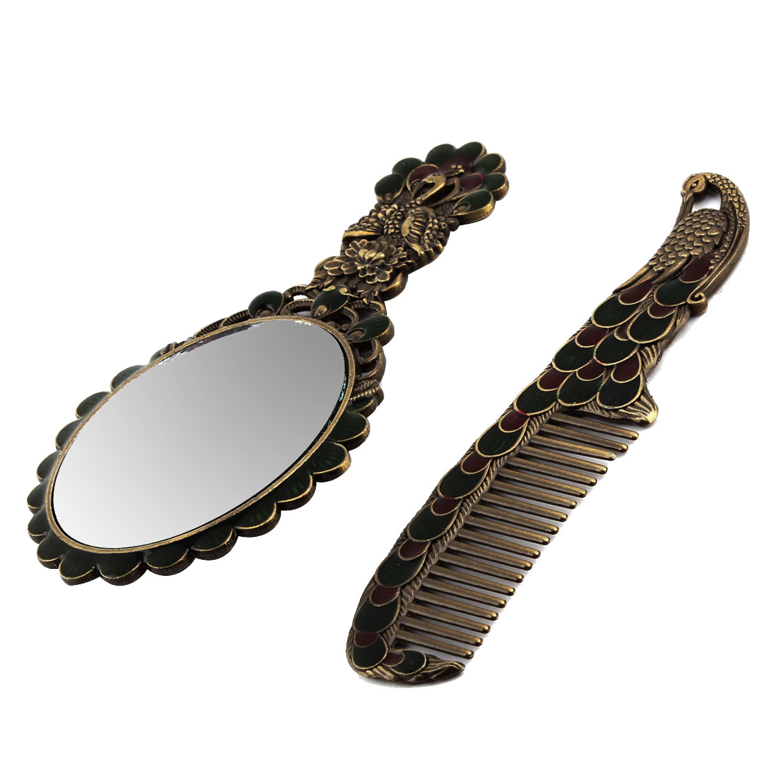 Lady Peacock Pattern Vintage Style Rhinestone Decor Makeup Mirror Comb 2 in 1