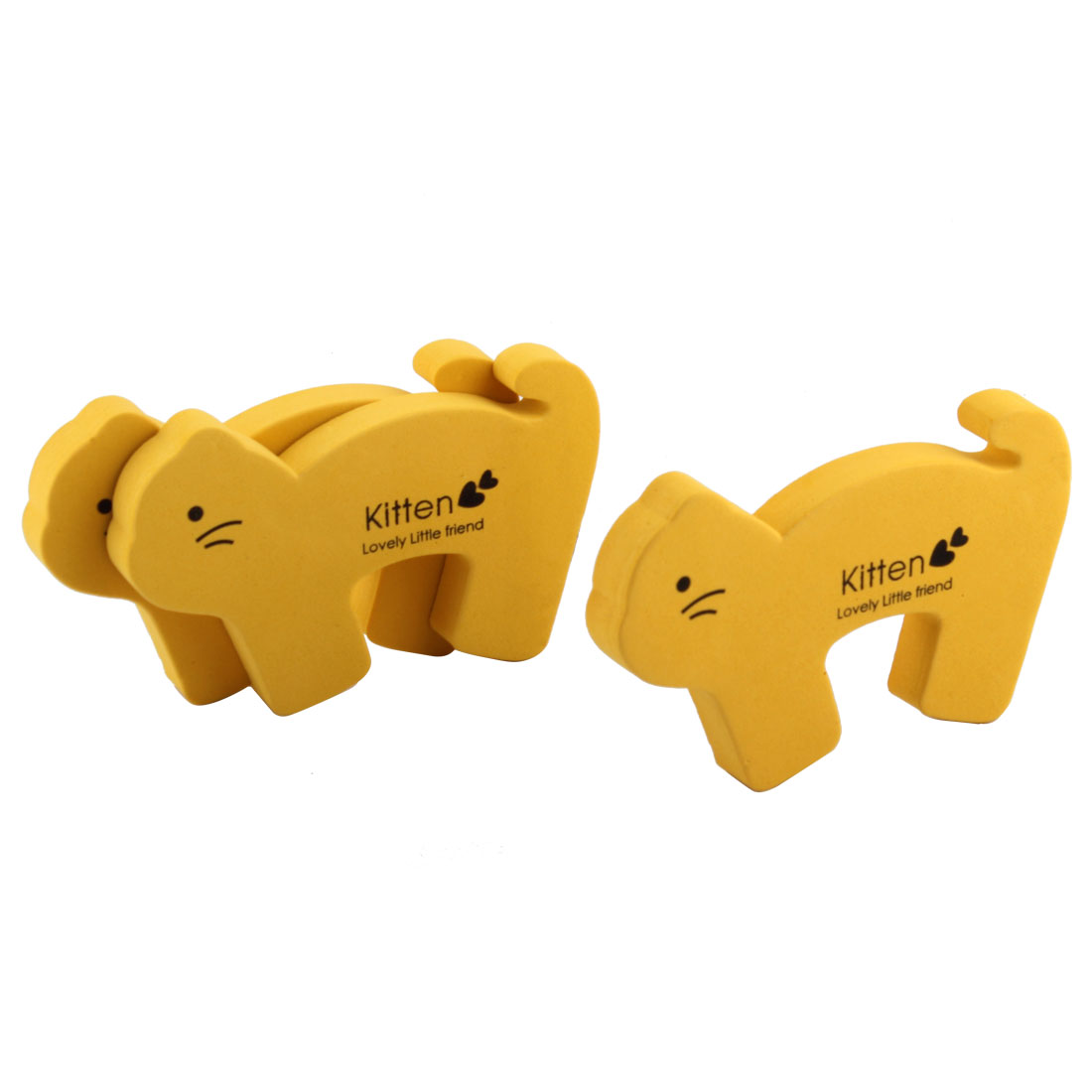Home Foam Cartoon Rabbit Pattern Safety Door Stopper Cushion Yellow 3pcs