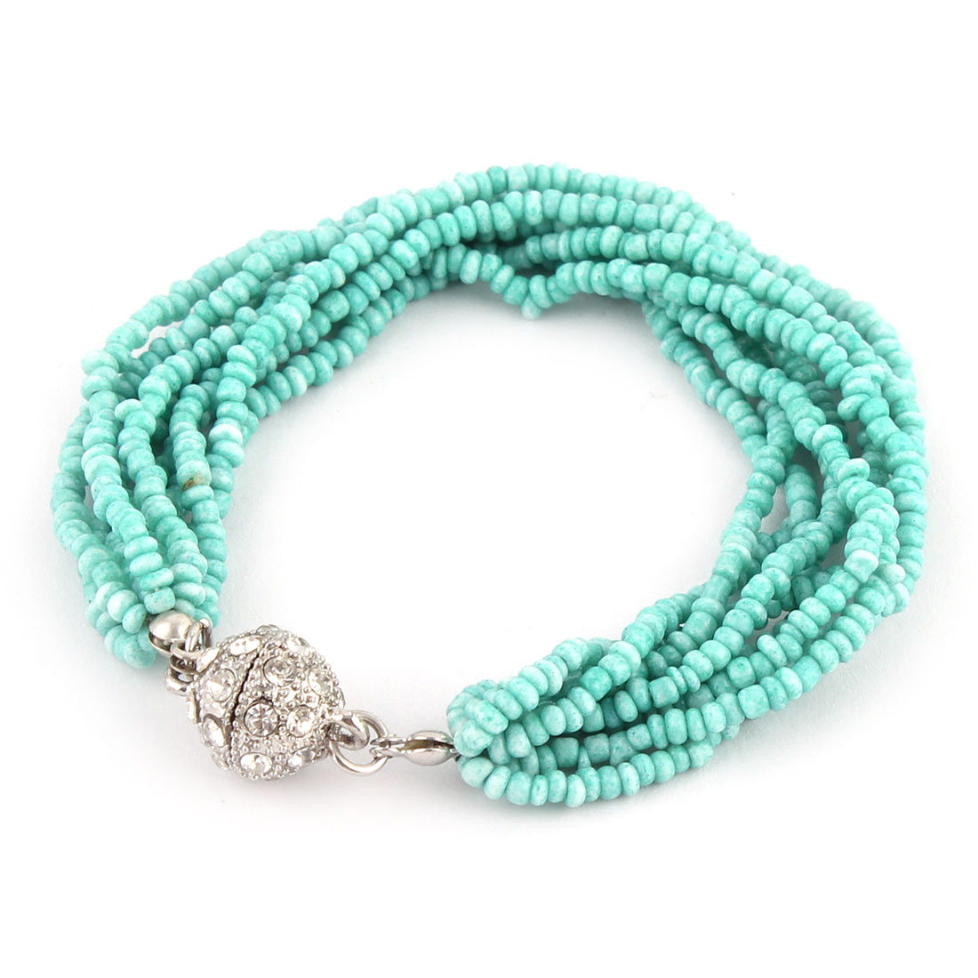 Lady Party Rhinestoe Decor Eight Layers Chain Beads Bracelet Bangle Silver Tone Turquoise Color