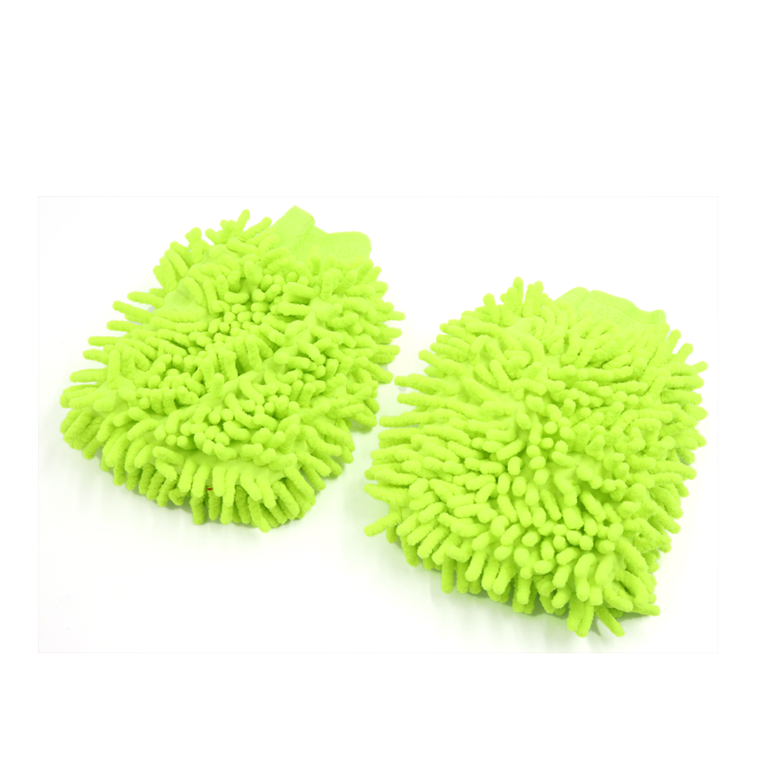2Pcs Green Chenille Brush Microfiber Washing Glove Dusting Cleaning for Car