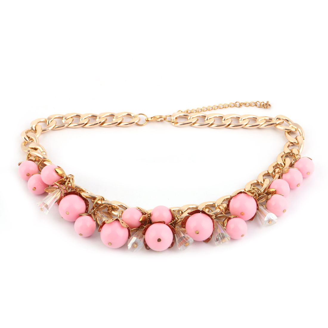 Beads Decor Statement Charm Neck Chain Chunky Necklace Pink Gold Tone