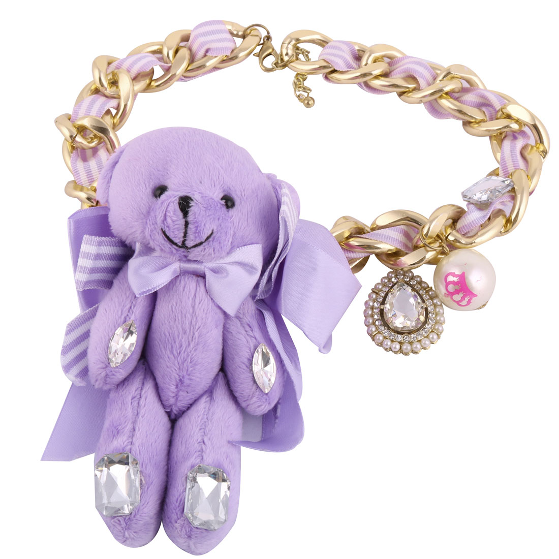 Glittering Rhinestone Toy Bear Pendant Charm Necklace Chunky Neck Chain