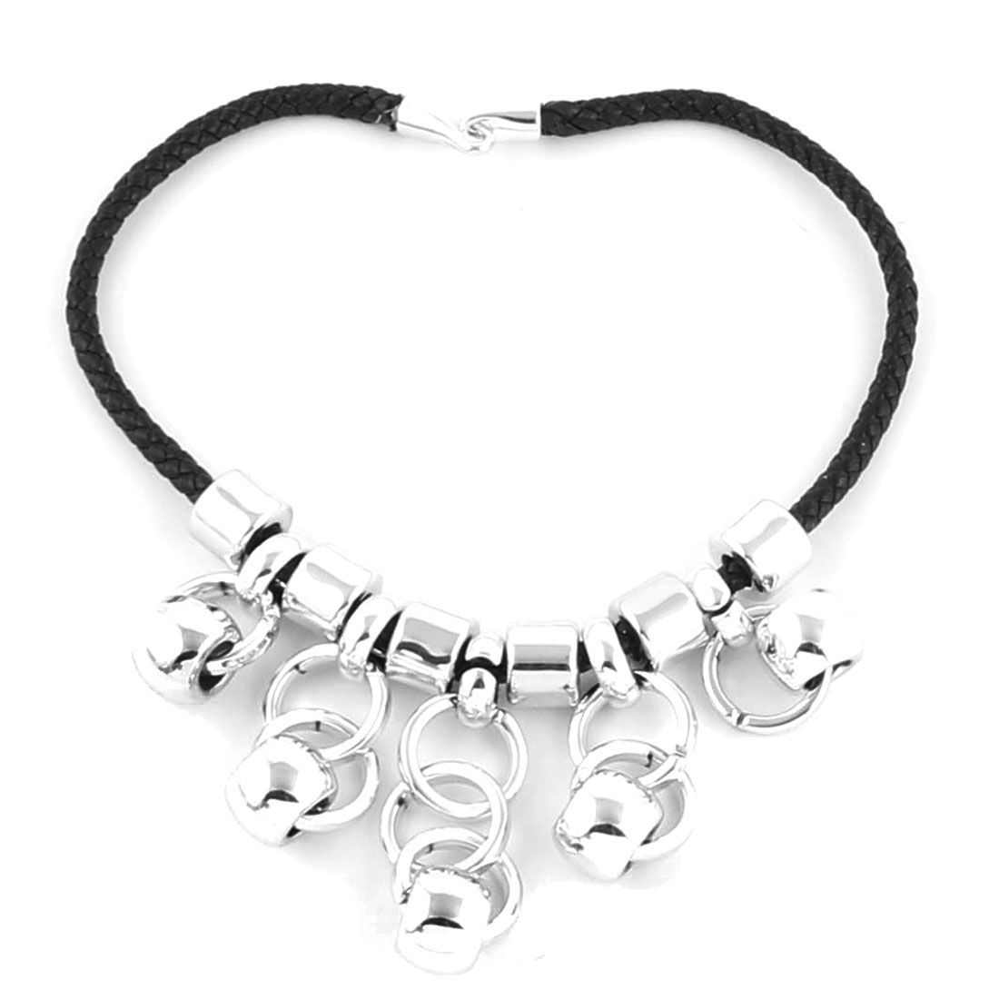 Women Nylon String Plastic Ring Shaped Pendant Clothes Sweater Necklace Silver Tone Black 42cm Girth