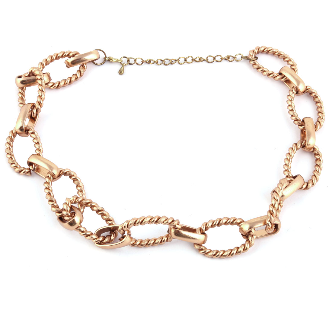 Unisex Spiral Oval Shape Ring Adjustable Neck Chain Necklace Decor Copper Tone