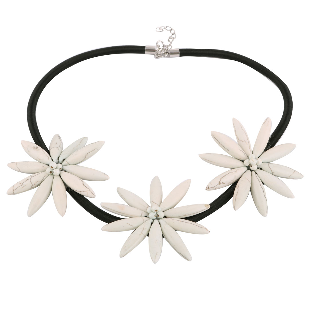 Crack Pattern Flower Flexible Cord Statement Necklace Neck Chain Chunky Charm
