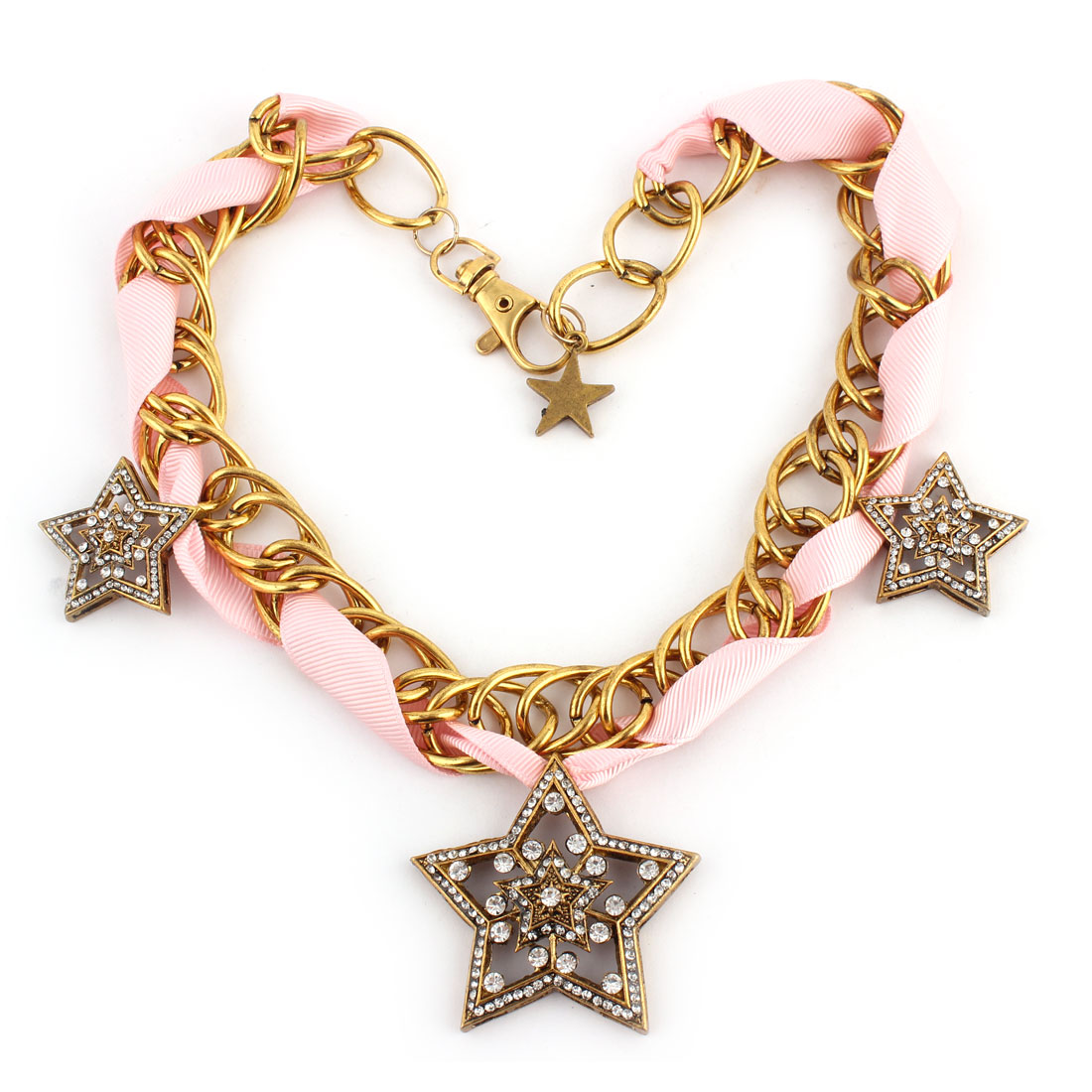Rhinestone Detailing Star Pendant Chain Necklace Banquet Clothes Ornament
