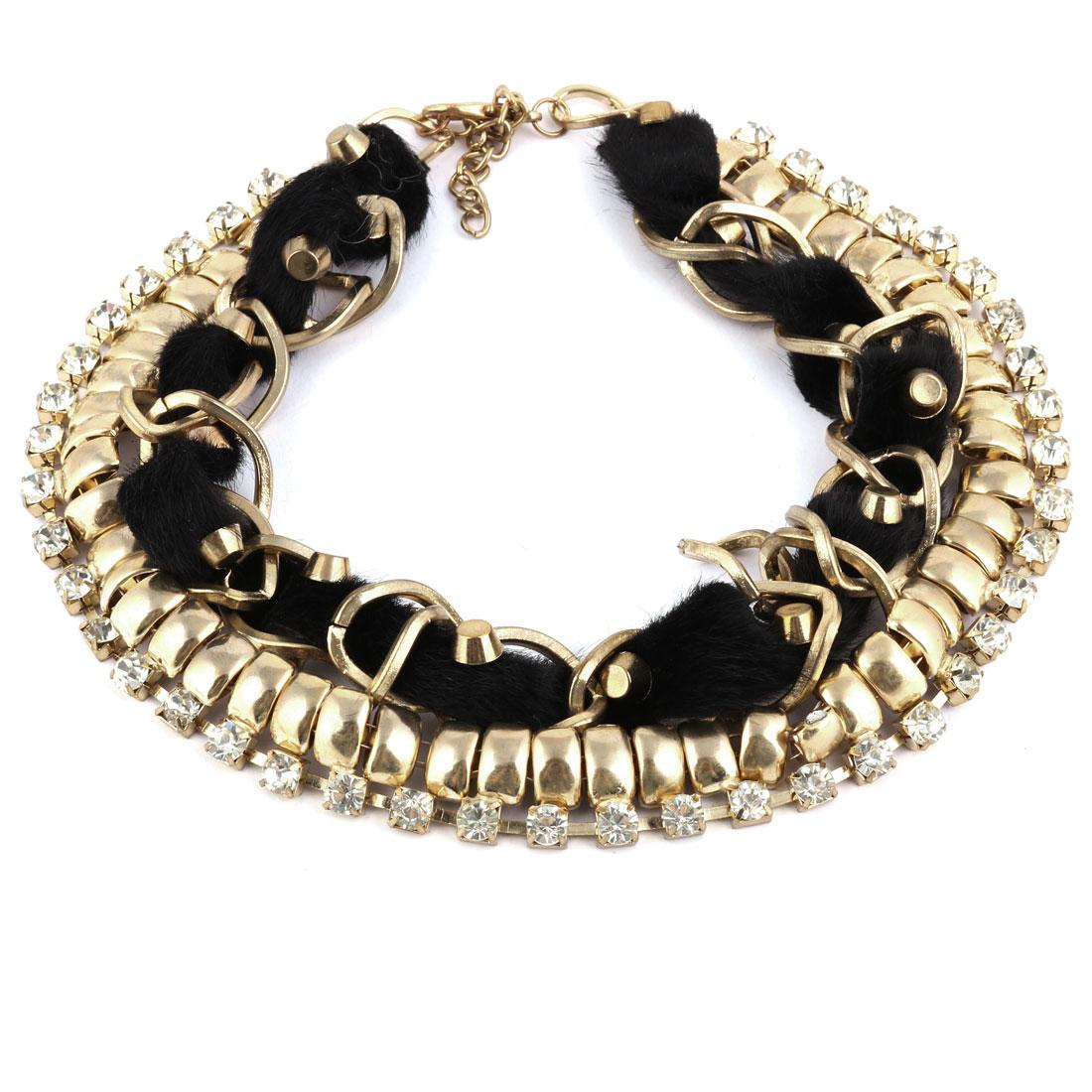 Artificial Fur Ribbon Rhinestone Inlaid Neck Chain Collar Necklace Choker