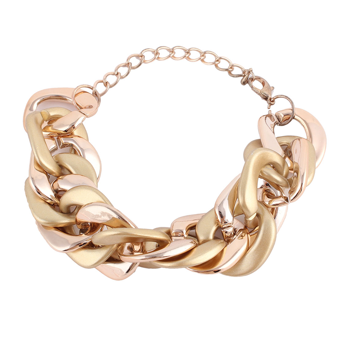 Plastic Adjustable Circle Chain Lobster Buckle Bracelet Bangle Gold Tone