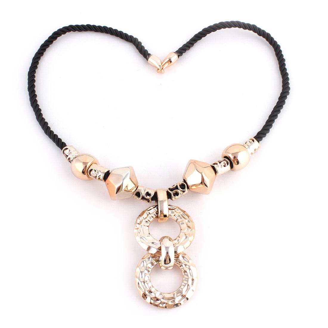 Lady Women Nylon Cord Linked Sweater Dress Necklace Chain Collar Copper Tone Black