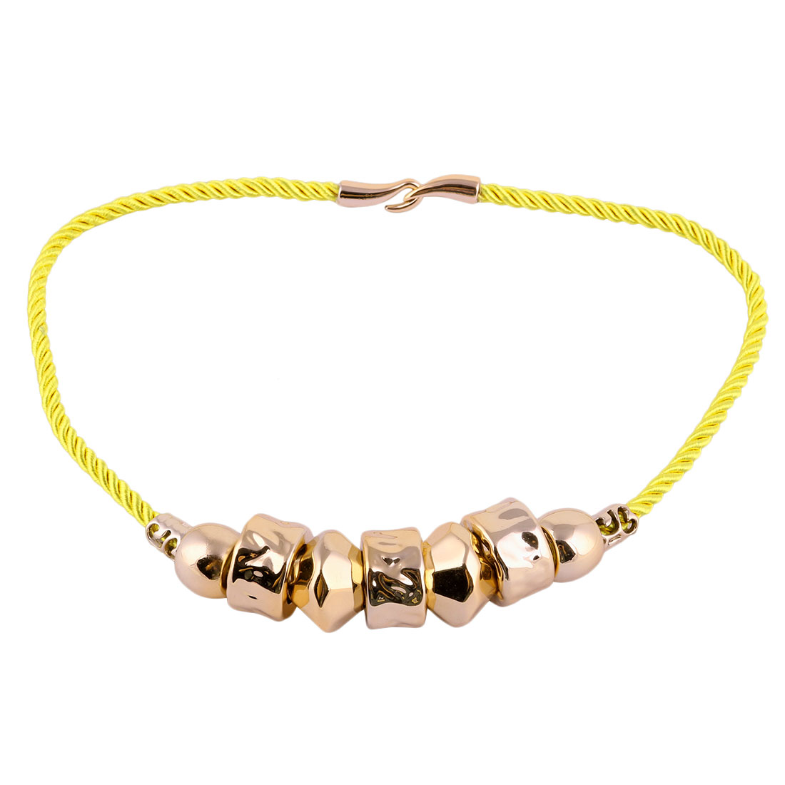 Woman Cylindrical Beads Neck Chain Necklace Statement Chunky Decor Yellow