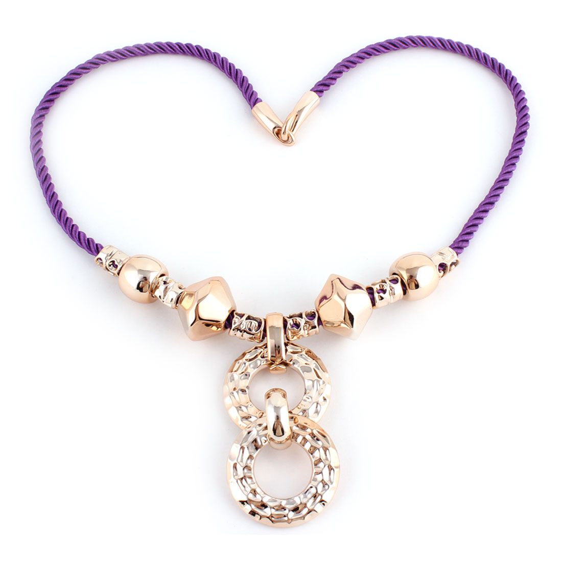 Plastic Pendant Sweater Necklace Chain Party Ornament Gold Tone Purple