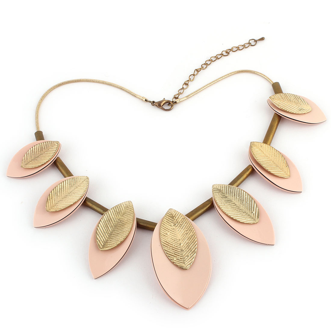Leaves Pendant Lobster Buckle Chain Necklace Banquet Ornament Pink Gold Tone