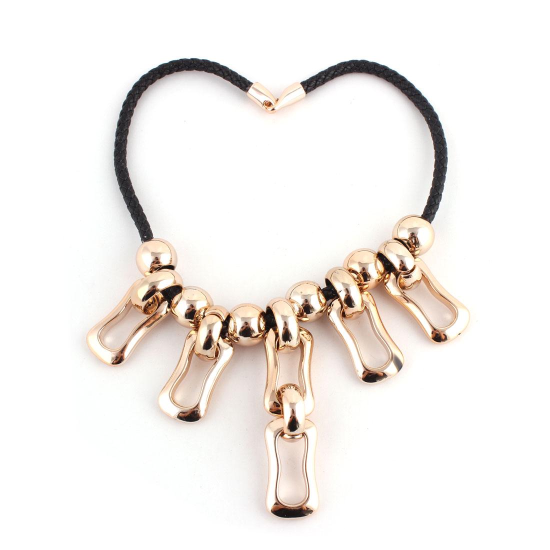 Faux Leather Cord Plastic Pendant Sweater Necklace Chain Party Decor Gold Tone Black