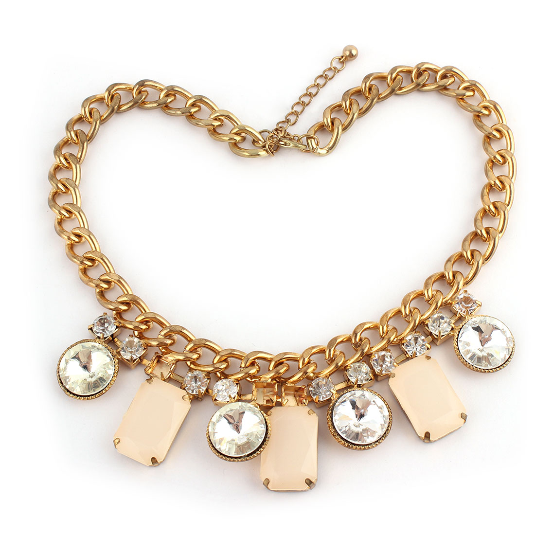 Metal Rhinestone Design Pendant Lobster Buckle Strip Link Thick Chain Necklace