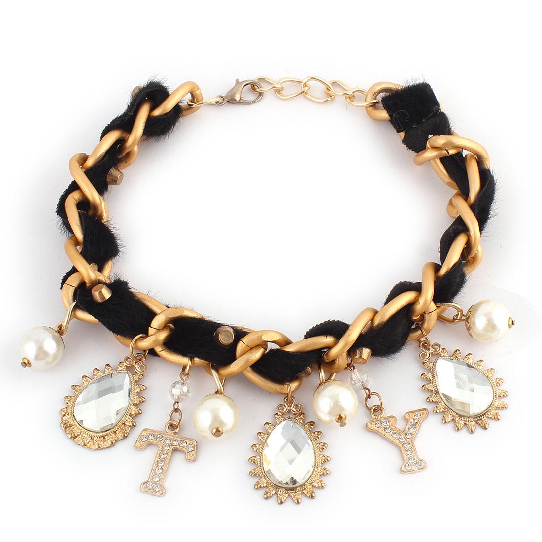 Rhinestone Imitation Pearl Pendant Necklace Banquet Party Clothes Ornament