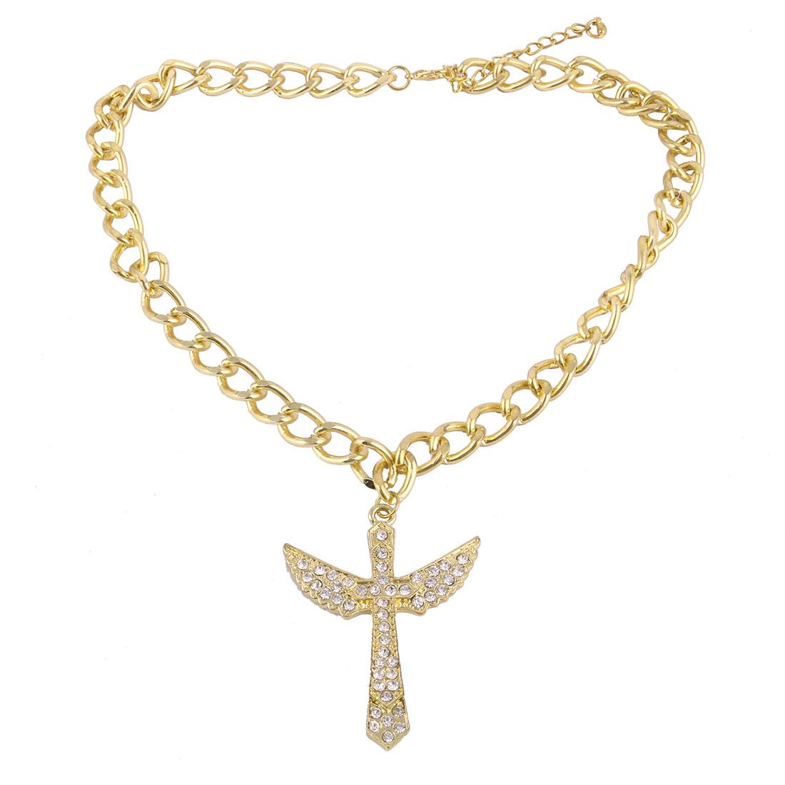 Rhinestone Inlaid Glitter Cross Pendant Neck Chain Choker Necklace Decor