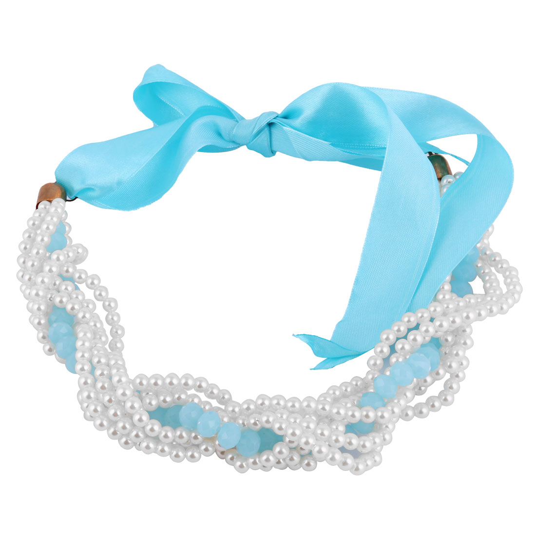 Plastic Beads Imitation Pearl Cluster Necklace Choker Neck Decor Blue