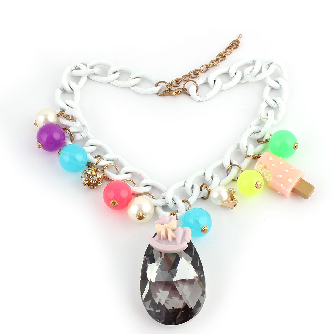 Water-drop Shape Pendant Beads Decor Lobster Buckle Strip Link Chain Necklace