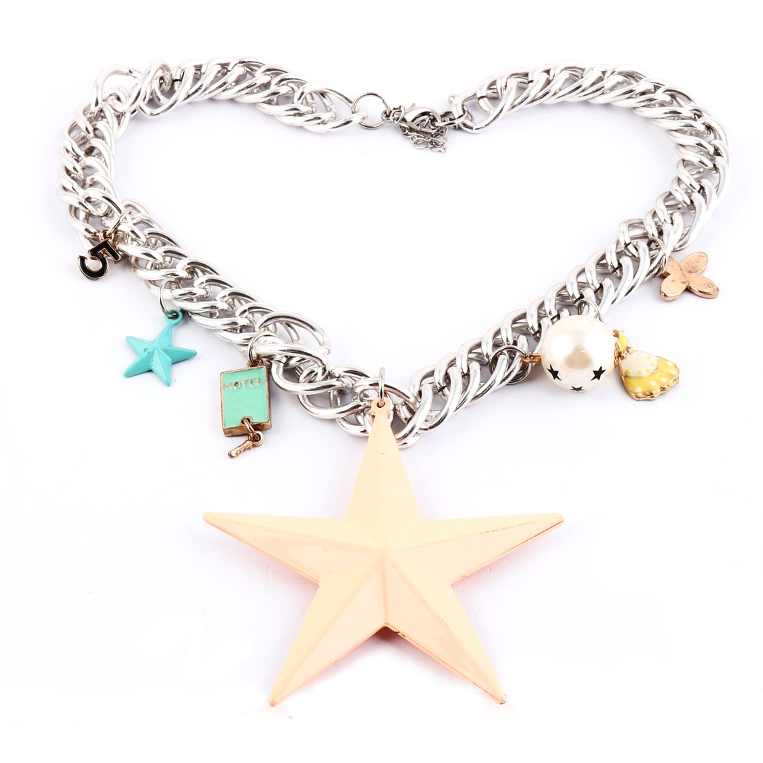Party Girl Star Pendant Decoration Charm Statement Necklace Neck Chain Decor Peach Orange
