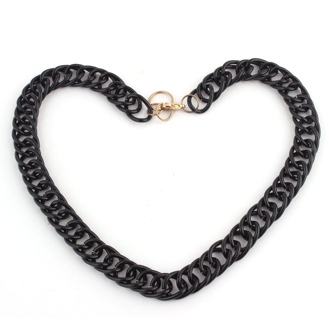 Metal Lobster Buckle Strip Link Thick Chain Necklace Clothes Decor Black