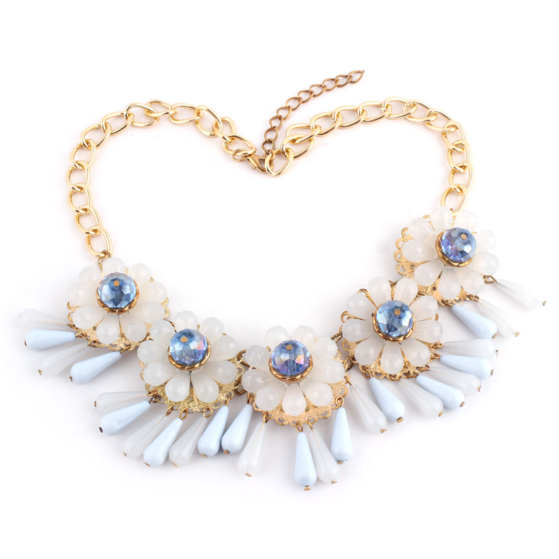 Plastic Flower Beads Pendant Metal Lobster Clasp Thick Chain Necklace