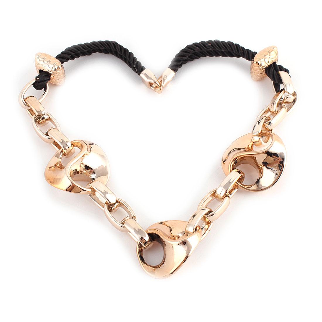 Woman Plastic Pendant Sweater Necklace Chain Party Ornament Gold Tone Black