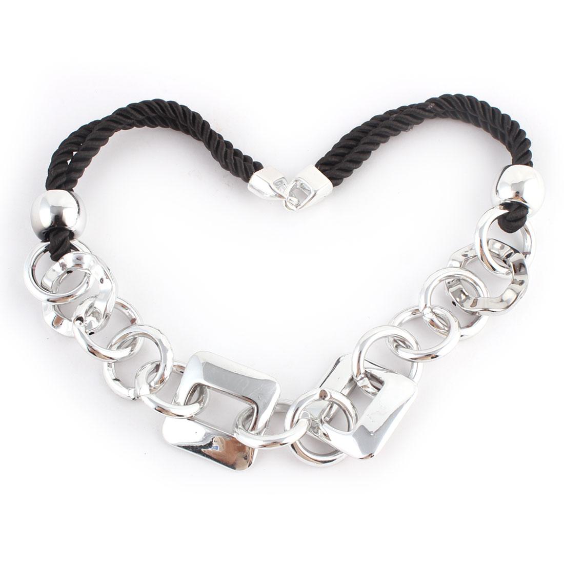 Lady Round Square Shape Pendant Sweater Necklace Chain Silver Tone Black