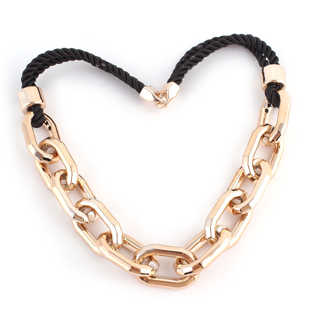 Lady Oval Shaped Pendant Sweater Dress Necklace Chain Gold Tone Black