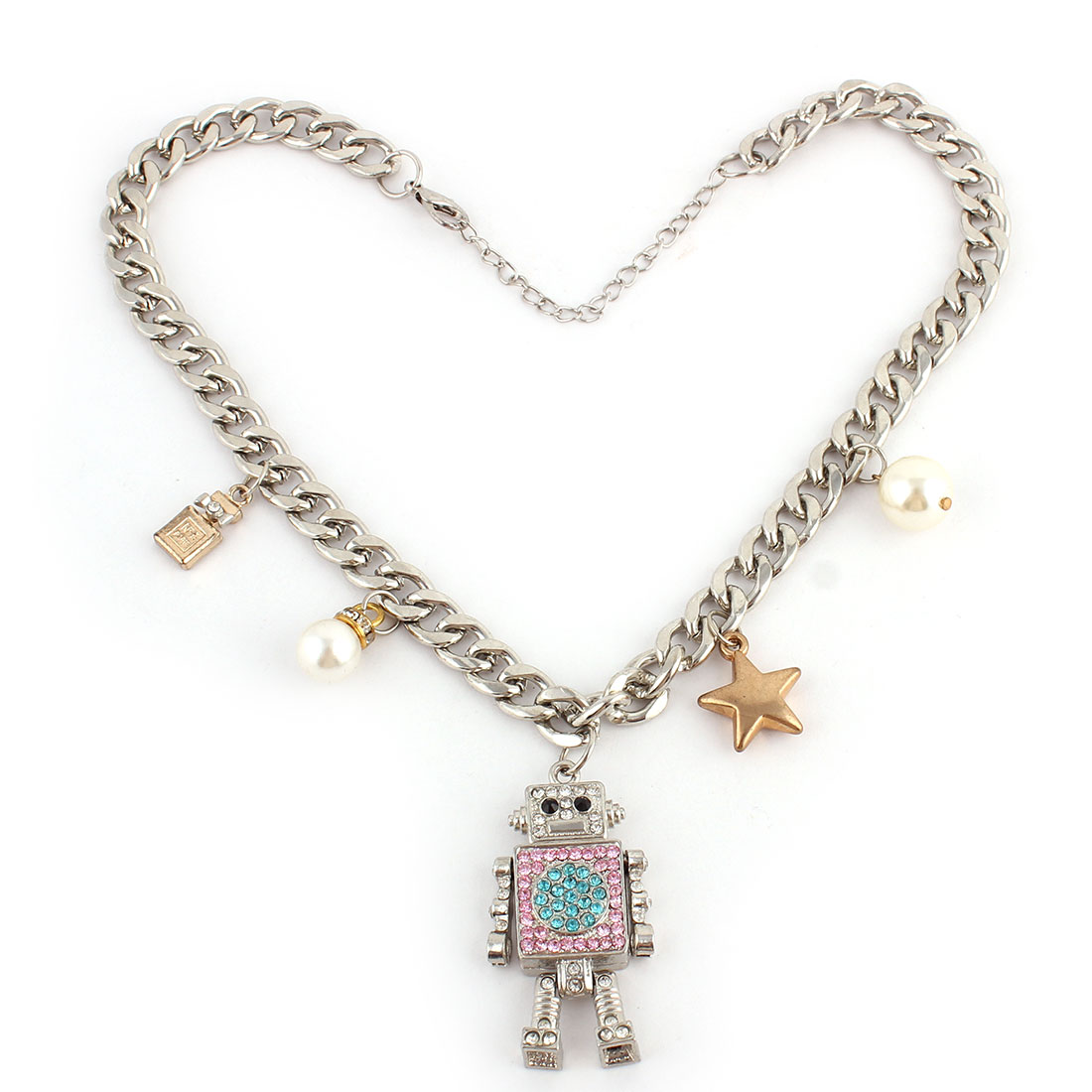 Lady Metal Chain Star Robot Designed Pendant Clothes Necklace Silver Tone