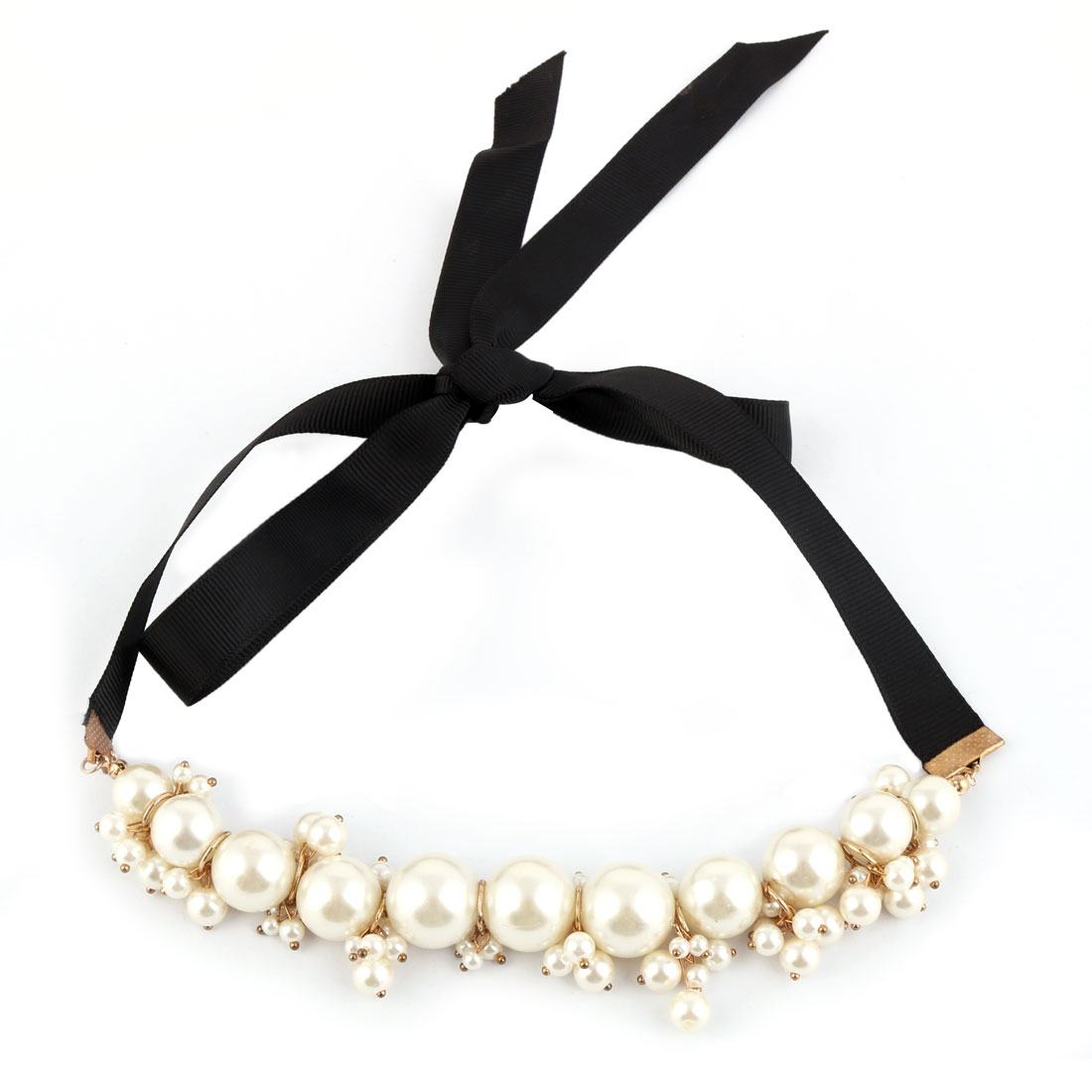 Nylon Ribbon Faux Imitation Pearl Cluster Decorative Choker Necklace Collar Decor