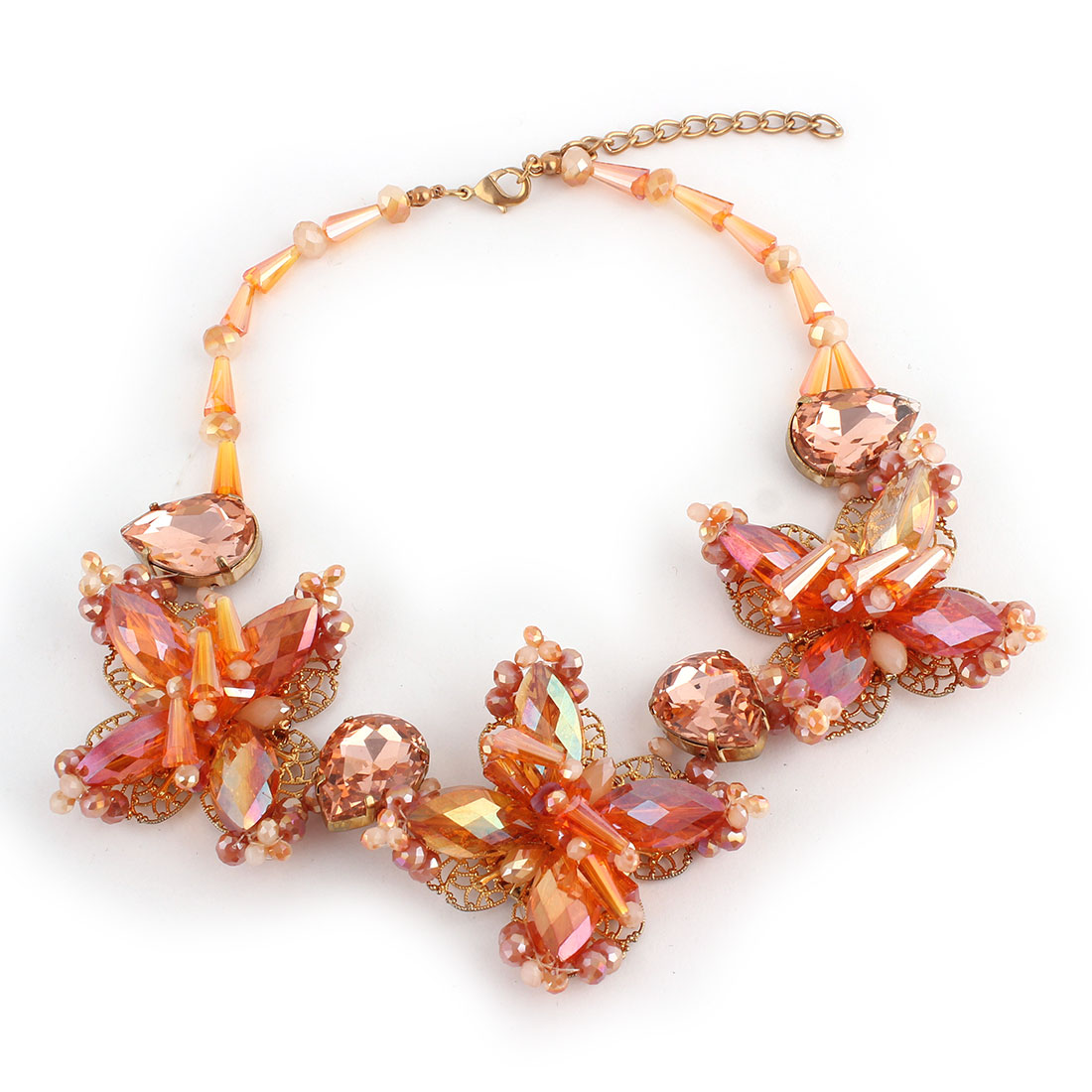 Plastic Faceted Rhinestone Flower Beads Pendant Lobster Buckle Chain Necklace