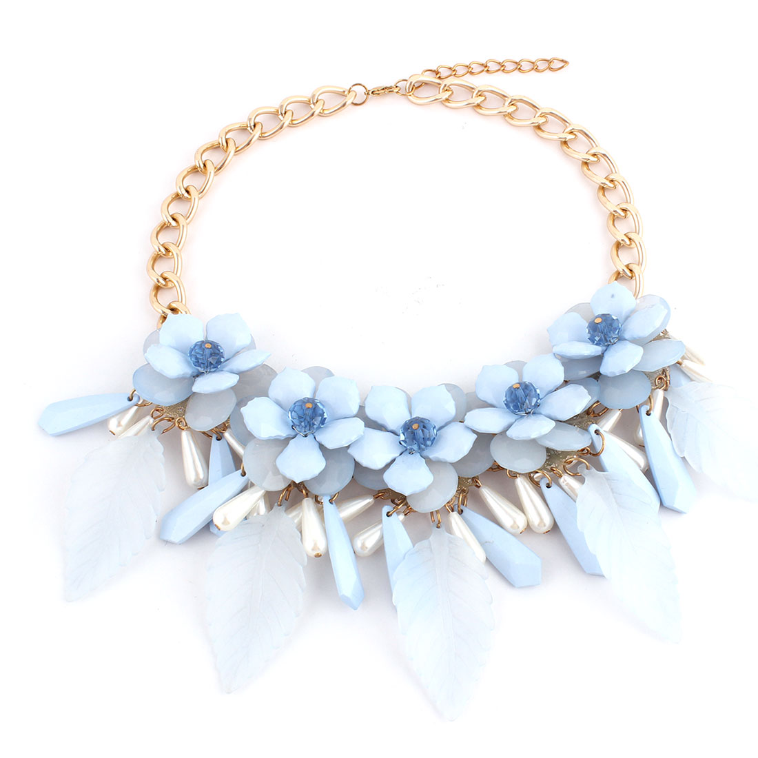 Plastic Flower Leaves Pendant Metal Lobster Buckle Chain Necklace Clothes Decor