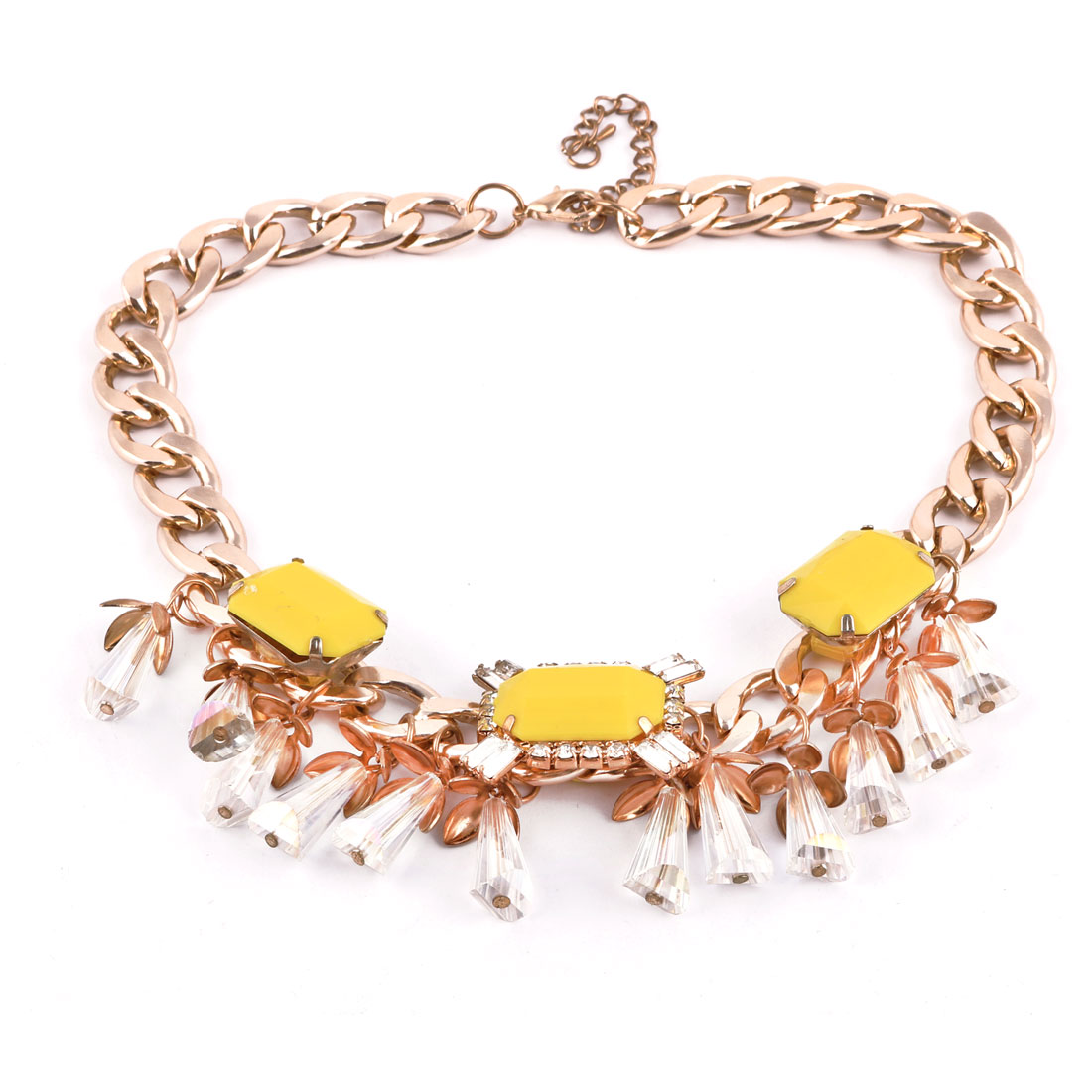 Lady Decorative Statement Necklace Neck Charm Chain Chunky Decor Yellow Gold Tone